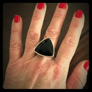Barse Gorgeous Sterling Silver Onyx Triangle Ring